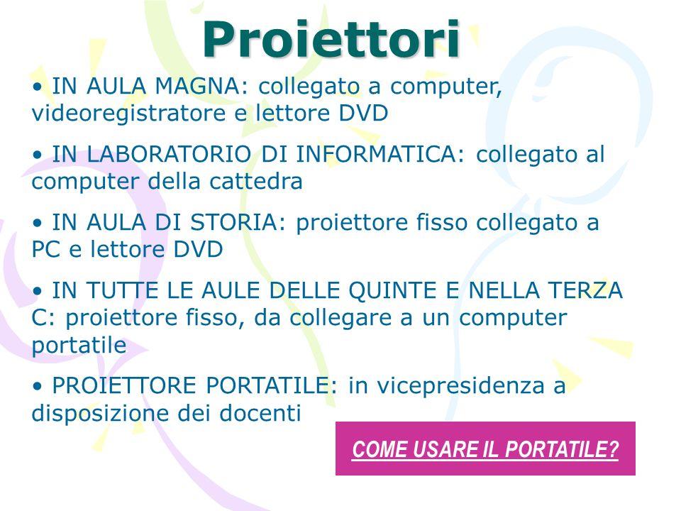 Proiettori IN AULA MAGNA: collegato a computer, videoregistratore e lettore DVD IN LABORATORIO DI INFORMATICA: collegato al computer della cattedra IN