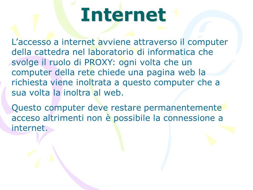 Internet Laccesso a internet avviene attraverso il computer della cattedra nel laboratorio di informatica che svolge il ruolo di PROXY: ogni volta che