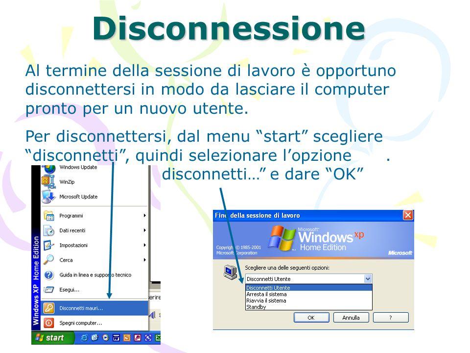 Disconnessione Al termine della sessione di lavoro è opportuno disconnettersi in modo da lasciare il computer pronto per un nuovo utente. Per disconne