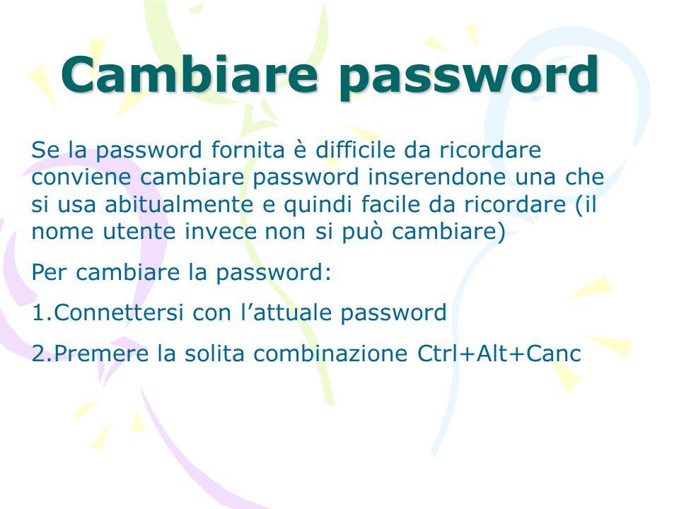 Cambiare password 3.Compare una finestra col pulsante cambia password: selezionarlo 4.Scrivere nei campi opportuni la vecchia e la nuova password (va riscritta per sicurezza) 5.Dare Ok 6.Premere Annulla