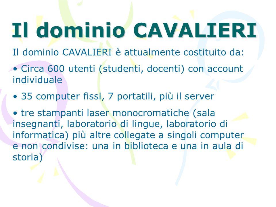 Il dominio CAVALIERI Il dominio CAVALIERI è attualmente costituito da: Circa 600 utenti (studenti, docenti) con account individuale 35 computer fissi,