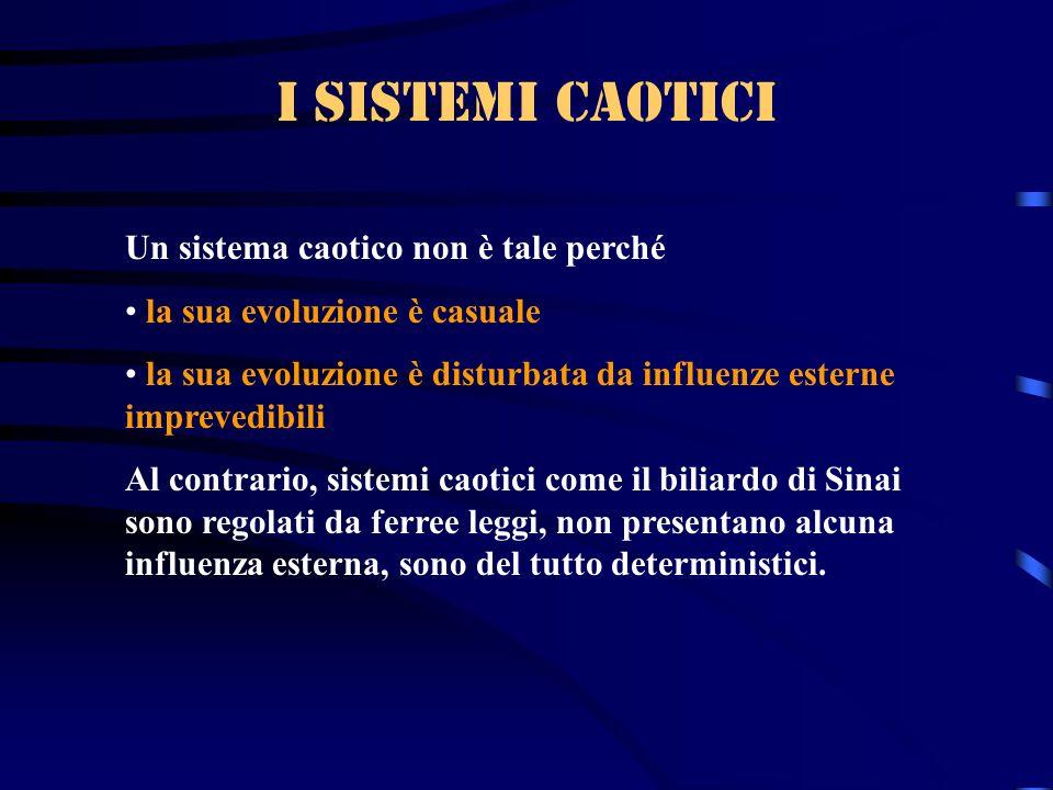 I sistemi caotici Un sistema caotico non è tale perché la sua evoluzione è casuale la sua evoluzione è disturbata da influenze esterne imprevedibili A