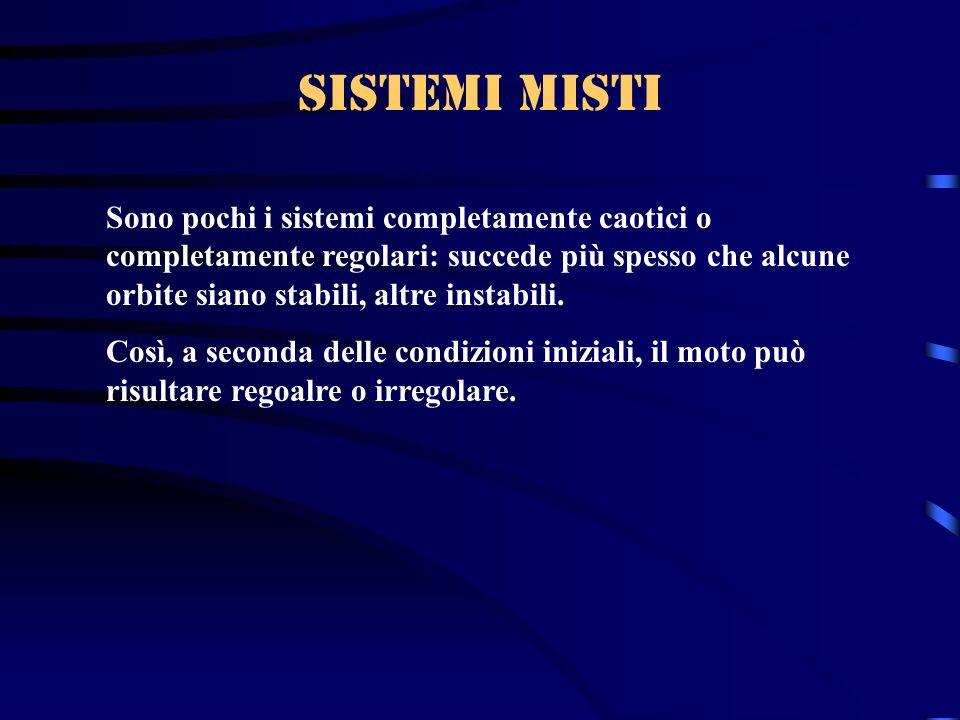 Sistemi misti Sono pochi i sistemi completamente caotici o completamente regolari: succede più spesso che alcune orbite siano stabili, altre instabili