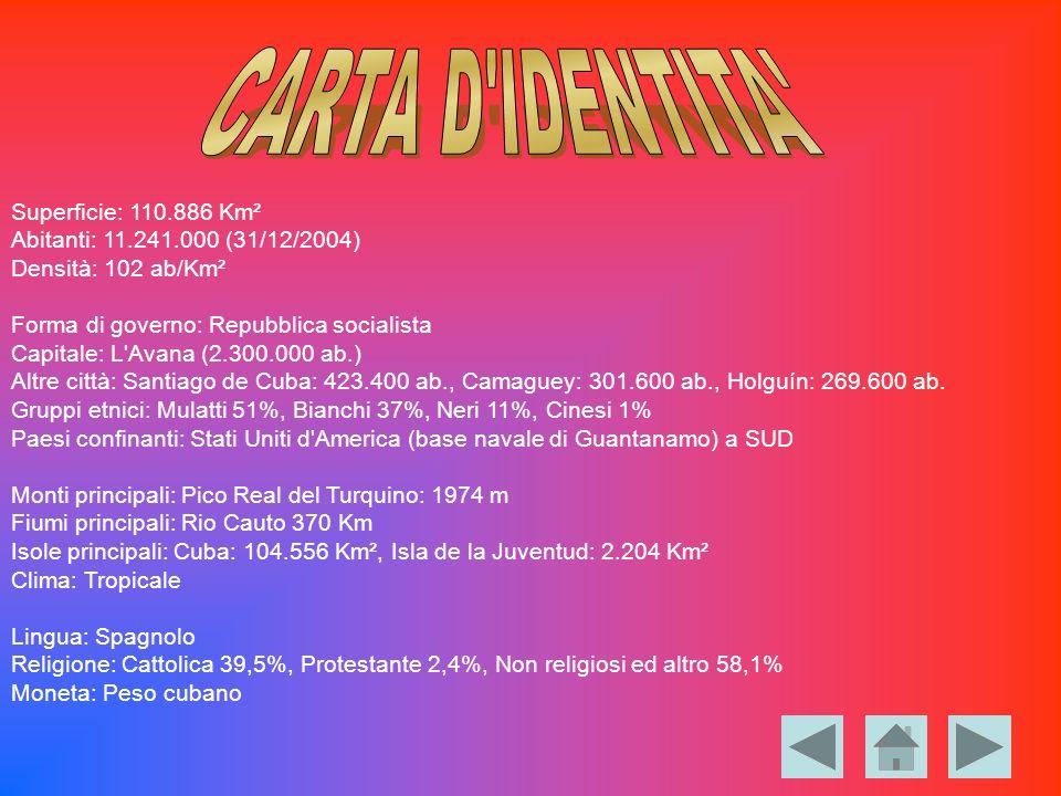 Superficie: 110.886 Km² Abitanti: 11.241.000 (31/12/2004) Densità: 102 ab/Km² Forma di governo: Repubblica socialista Capitale: L'Avana (2.300.000 ab.
