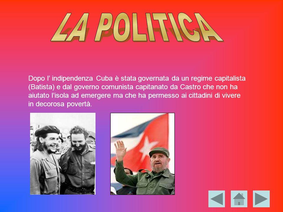 Dopo l indipendenza Cuba è stata governata da un regime capitalista (Batista) e dal governo comunista capitanato da Castro che non ha aiutato lisola a