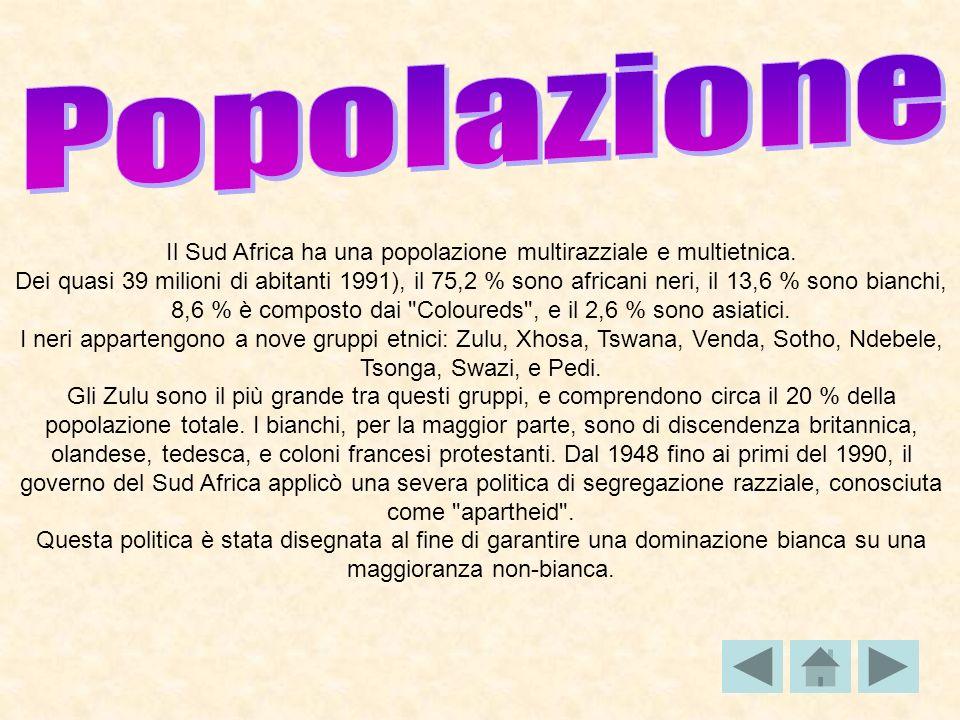 Il Sud Africa ha una popolazione multirazziale e multietnica. Dei quasi 39 milioni di abitanti 1991), il 75,2 % sono africani neri, il 13,6 % sono bia