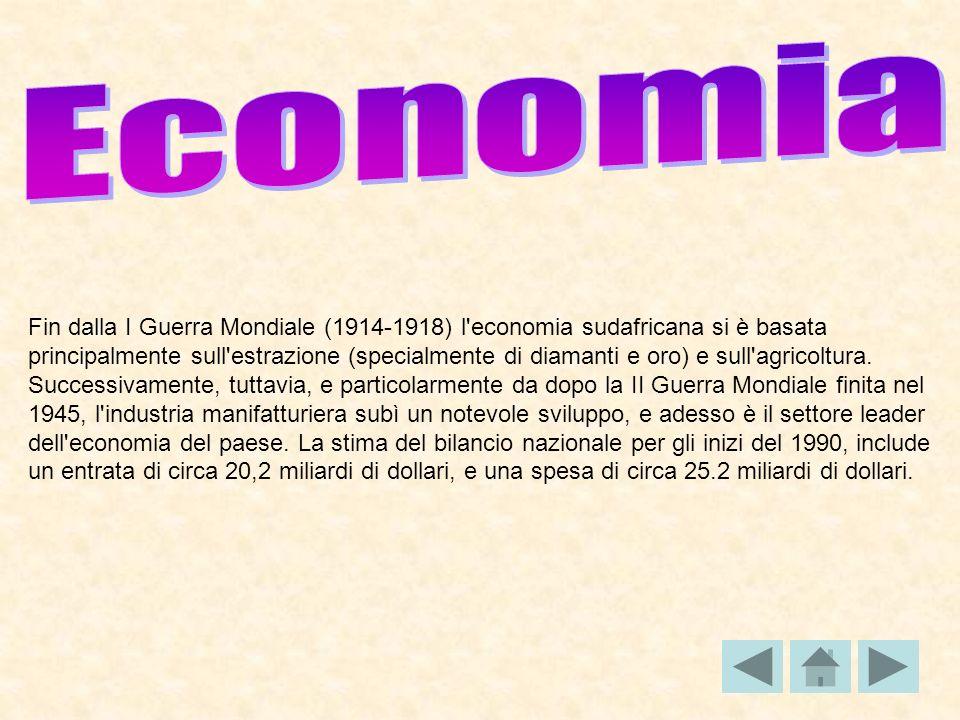 Fin dalla I Guerra Mondiale (1914-1918) l'economia sudafricana si è basata principalmente sull'estrazione (specialmente di diamanti e oro) e sull'agri