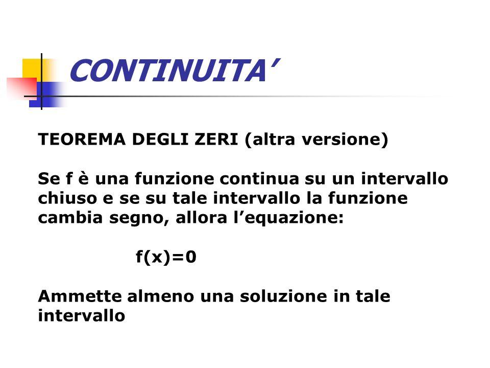CONTINUITA TEOREMA DEGLI ZERI (altra versione) Se f è una funzione continua su un intervallo chiuso e se su tale intervallo la funzione cambia segno,
