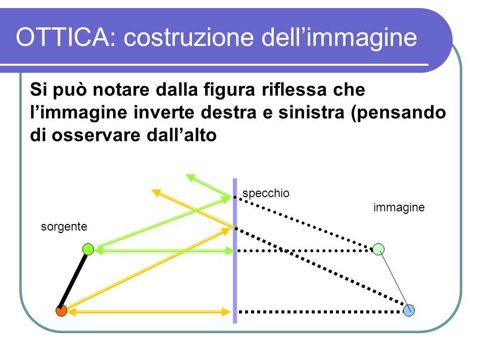 OTTICA: costruzione dellimmagine Si può notare dalla figura riflessa che limmagine inverte destra e sinistra (pensando di osservare dallalto sorgente