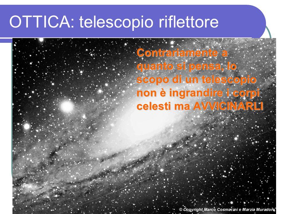 OTTICA: telescopio riflettore Contrariamente a quanto si pensa, lo scopo di un telescopio non è ingrandire i corpi celesti ma AVVICINARLI