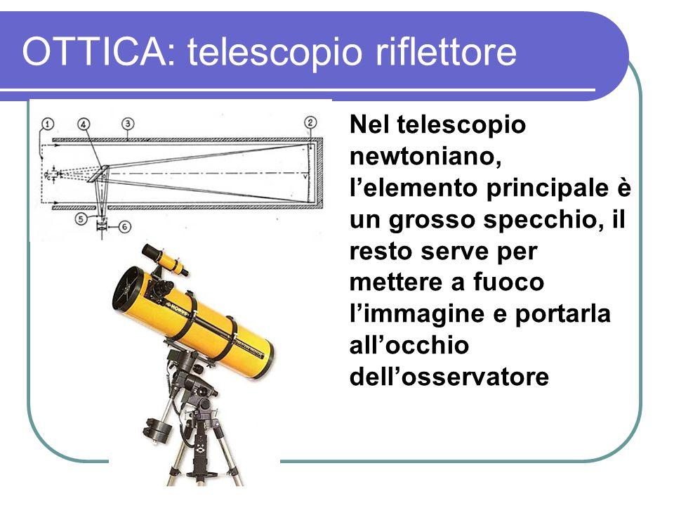 OTTICA: telescopio riflettore Nel telescopio newtoniano, lelemento principale è un grosso specchio, il resto serve per mettere a fuoco limmagine e por