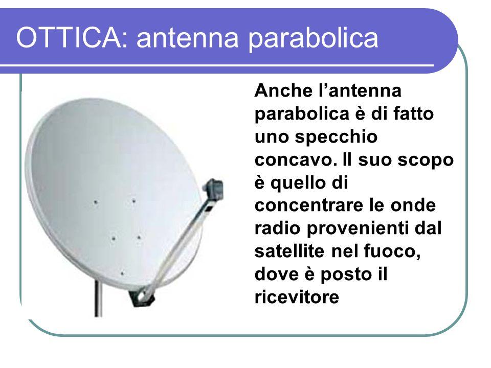 OTTICA: antenna parabolica Anche lantenna parabolica è di fatto uno specchio concavo. Il suo scopo è quello di concentrare le onde radio provenienti d