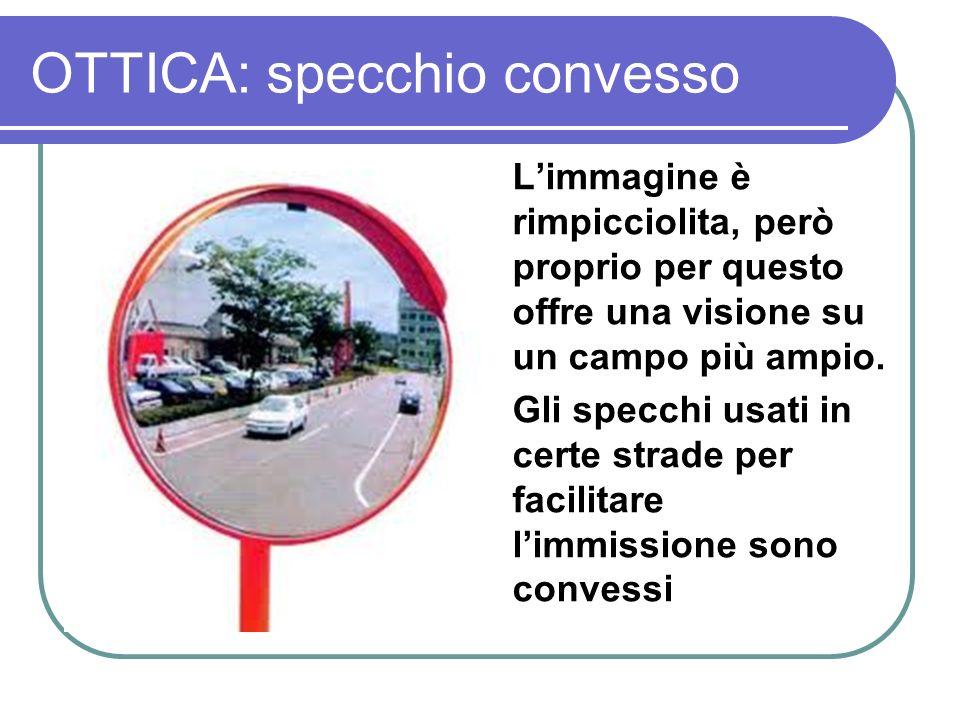 OTTICA: specchio convesso Limmagine è rimpicciolita, però proprio per questo offre una visione su un campo più ampio. Gli specchi usati in certe strad
