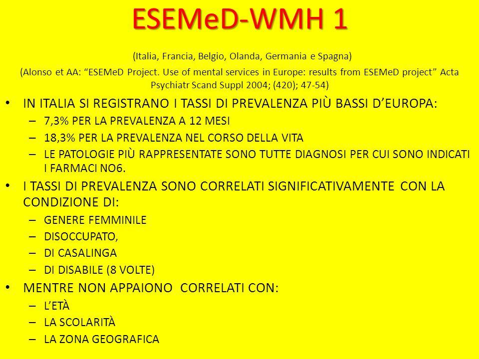 ESEMeD-WMH 1 ESEMeD-WMH 1 (Italia, Francia, Belgio, Olanda, Germania e Spagna) (Alonso et AA: ESEMeD Project.