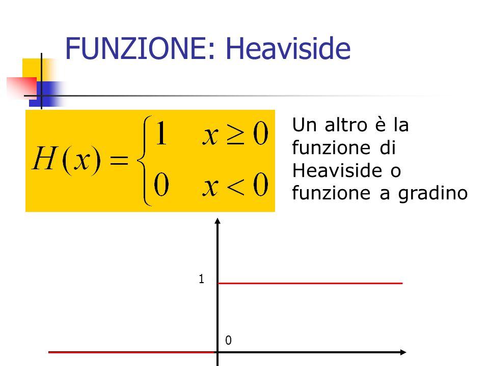 FUNZIONE: Heaviside Un altro è la funzione di Heaviside o funzione a gradino 1 0
