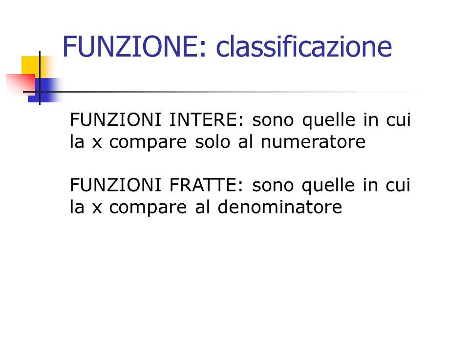 FUNZIONE: classificazione FUNZIONI INTERE: sono quelle in cui la x compare solo al numeratore FUNZIONI FRATTE: sono quelle in cui la x compare al deno