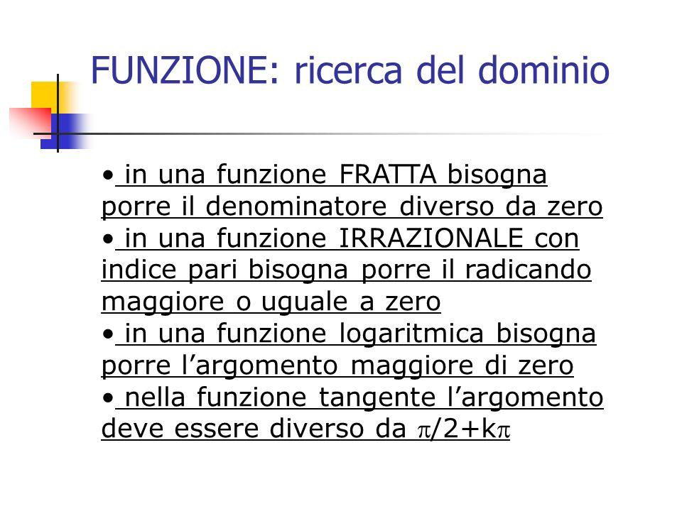 FUNZIONE: ricerca del dominio in una funzione FRATTA bisogna porre il denominatore diverso da zero in una funzione IRRAZIONALE con indice pari bisogna