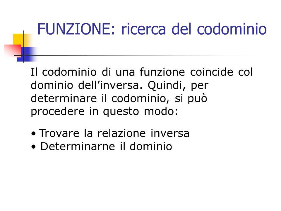 FUNZIONE: ricerca del codominio Il codominio di una funzione coincide col dominio dellinversa. Quindi, per determinare il codominio, si può procedere