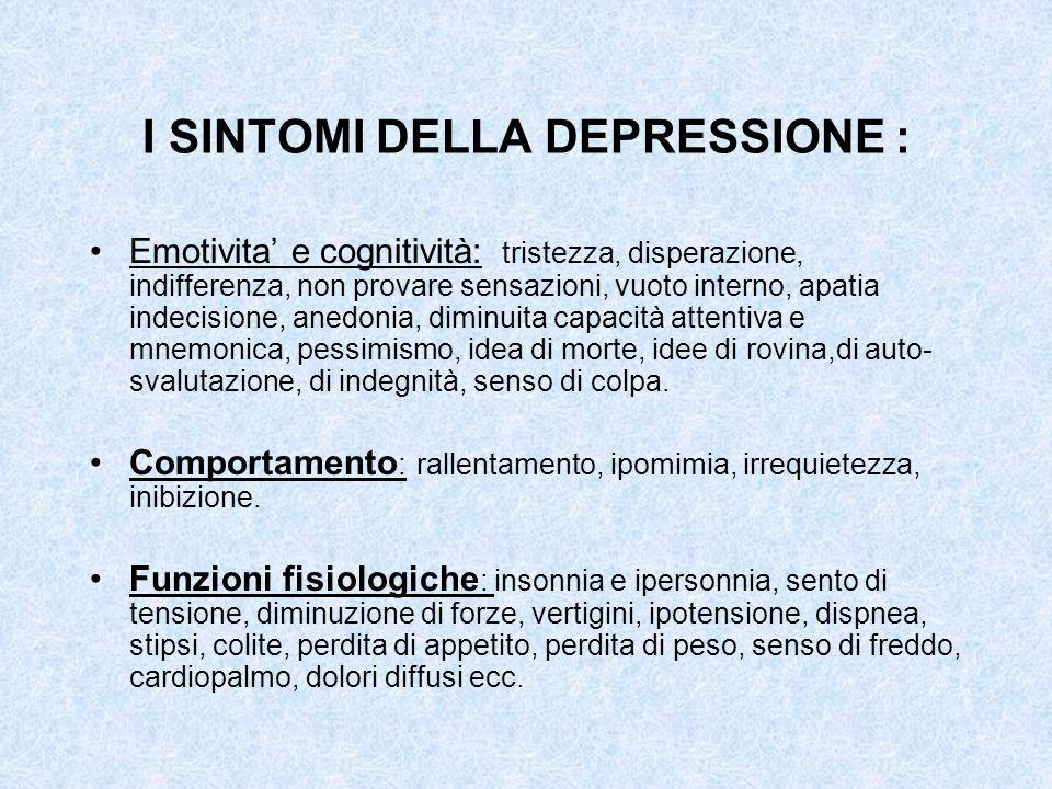 I SINTOMI DELLA DEPRESSIONE : Emotivita e cognitività: tristezza, disperazione, indifferenza, non provare sensazioni, vuoto interno, apatia indecision