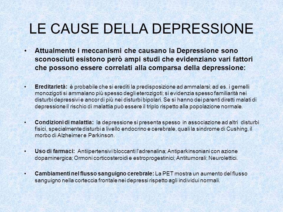 LE CAUSE DELLA DEPRESSIONE Attualmente i meccanismi che causano la Depressione sono sconosciuti esistono però ampi studi che evidenziano vari fattori