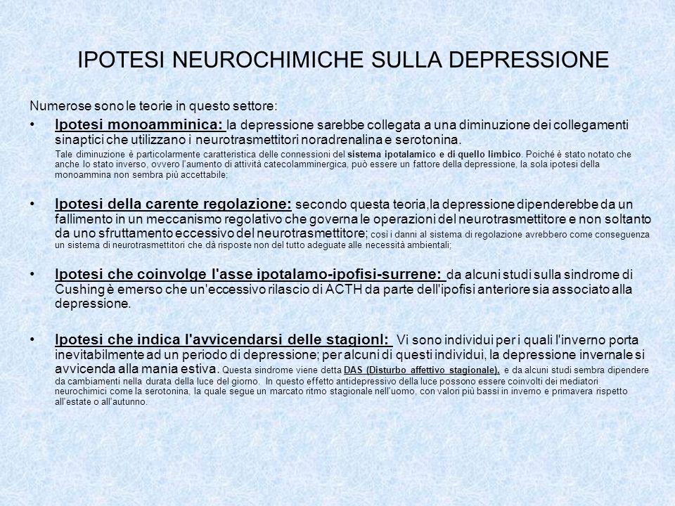IPOTESI NEUROCHIMICHE SULLA DEPRESSIONE Numerose sono le teorie in questo settore: Ipotesi monoamminica: la depressione sarebbe collegata a una diminu