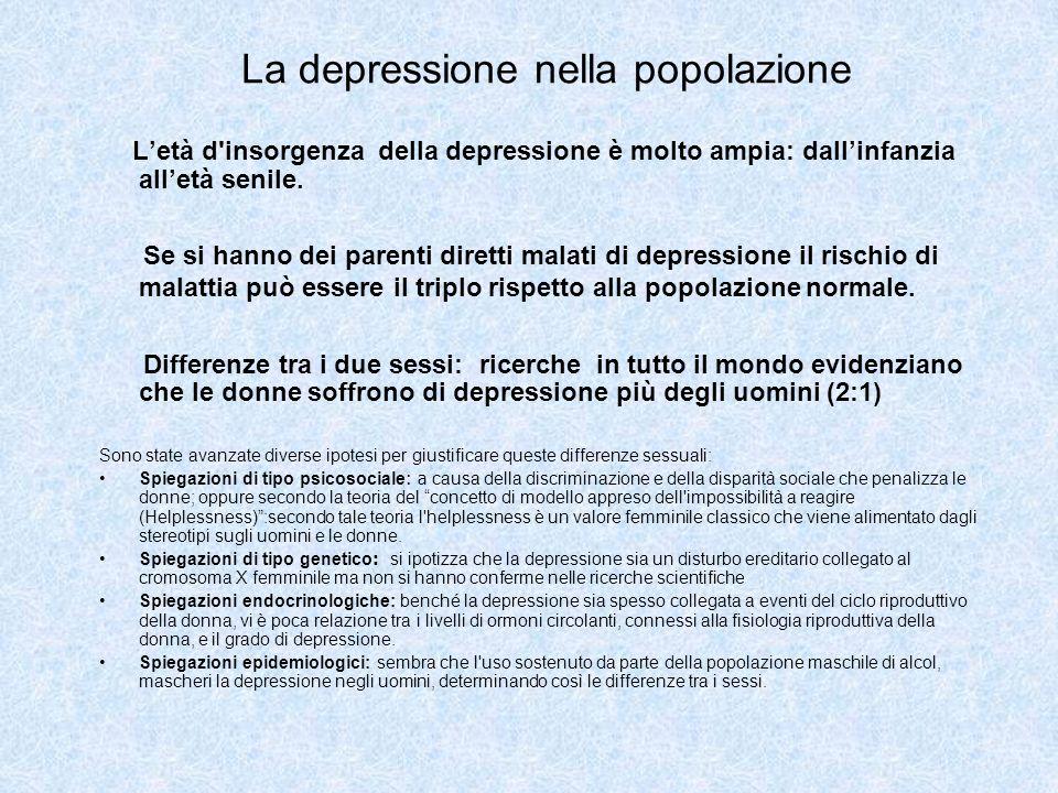 La depressione nella popolazione Letà d'insorgenza della depressione è molto ampia: dallinfanzia alletà senile. Se si hanno dei parenti diretti malati
