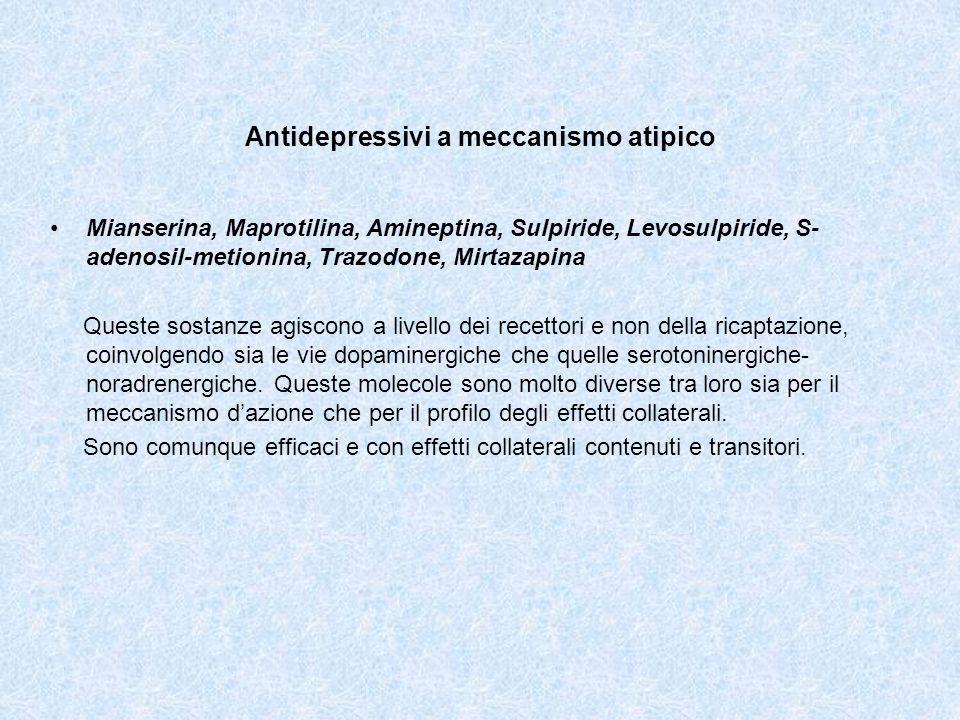 Antidepressivi a meccanismo atipico Mianserina, Maprotilina, Amineptina, Sulpiride, Levosulpiride, S- adenosil-metionina, Trazodone, Mirtazapina Quest