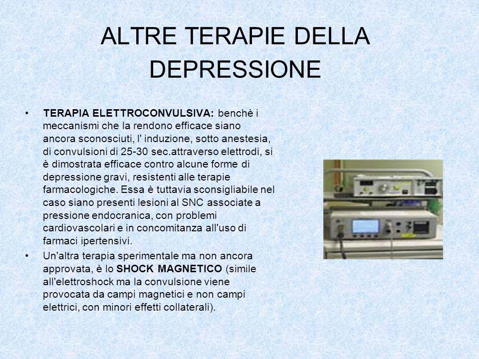 ALTRE TERAPIE DELLA DEPRESSIONE TERAPIA ELETTROCONVULSIVA: benchè i meccanismi che la rendono efficace siano ancora sconosciuti, l' induzione, sotto a