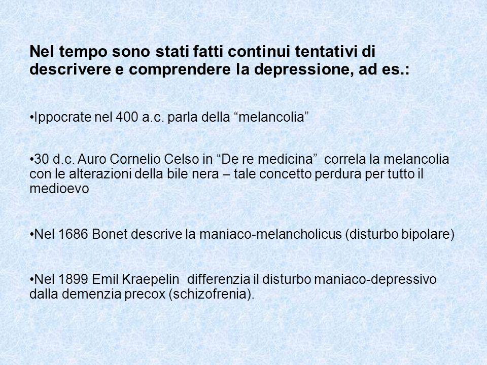 Nel tempo sono stati fatti continui tentativi di descrivere e comprendere la depressione, ad es.: Ippocrate nel 400 a.c. parla della melancolia 30 d.c