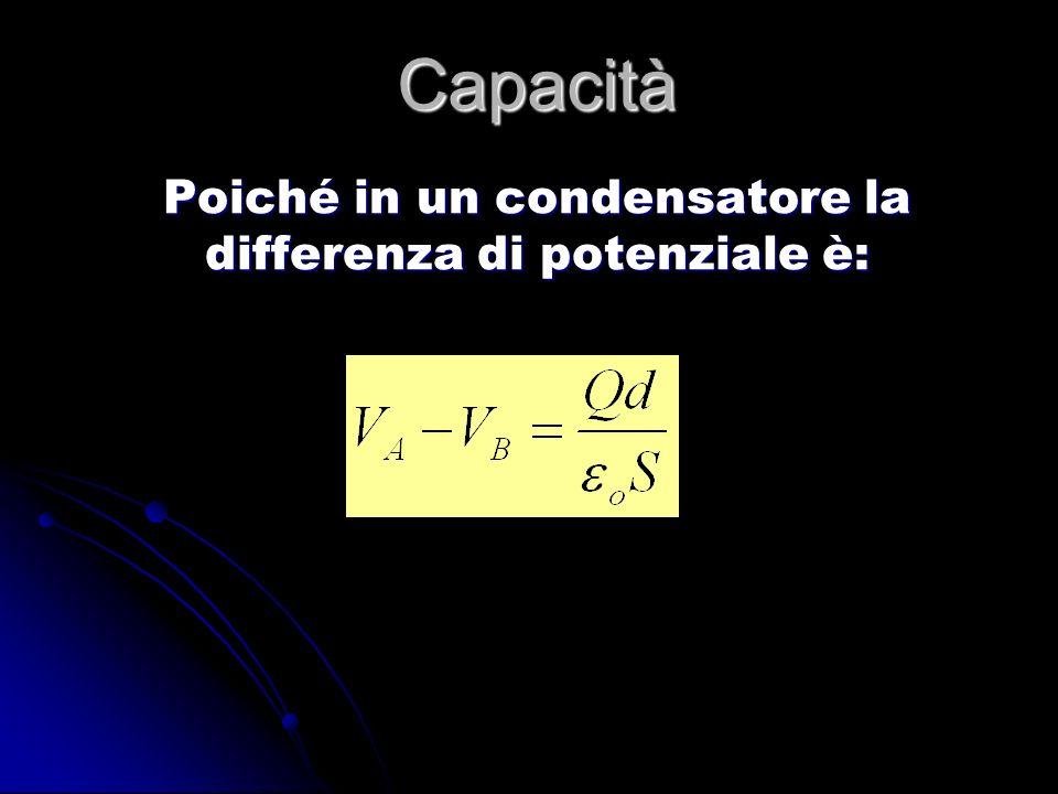 Capacità Poiché in un condensatore la differenza di potenziale è: