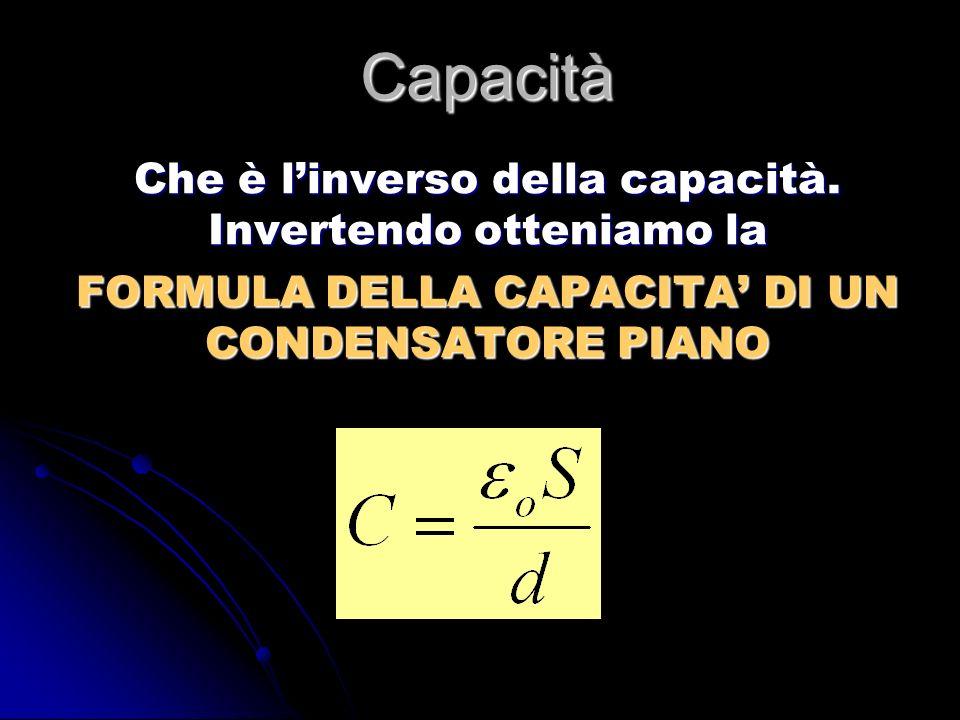 Capacità Che è linverso della capacità. Invertendo otteniamo la FORMULA DELLA CAPACITA DI UN CONDENSATORE PIANO