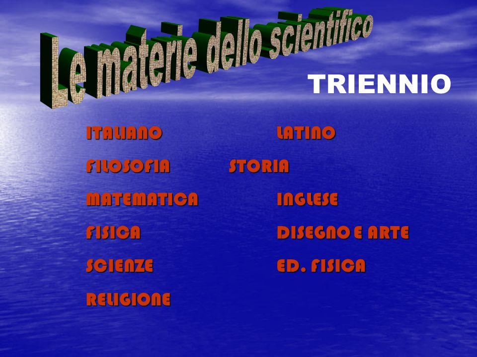 ITALIANOLATINO FILOSOFIASTORIA MATEMATICAINGLESE FISICADISEGNO E ARTE SCIENZEED. FISICA RELIGIONE TRIENNIO