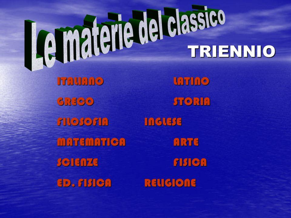 ITALIANOLATINO GRECOSTORIA FILOSOFIAINGLESE MATEMATICAARTE SCIENZEFISICA ED. FISICARELIGIONE TRIENNIO