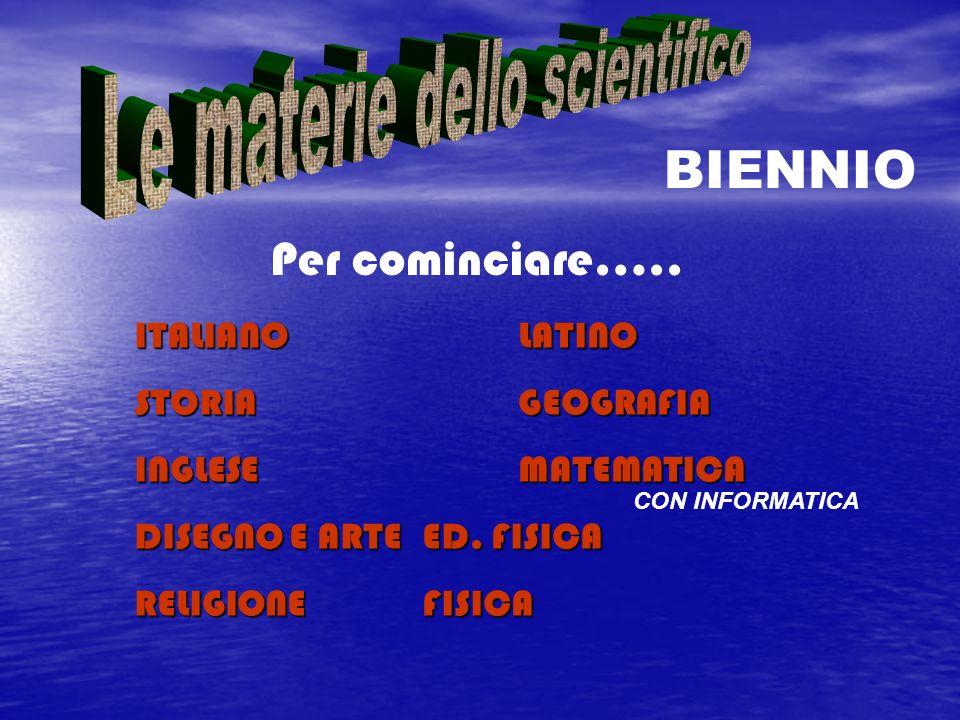 Per cominciare….. ITALIANOLATINO STORIAGEOGRAFIA INGLESEMATEMATICA DISEGNO E ARTEED. FISICA RELIGIONEFISICA BIENNIO CON INFORMATICA