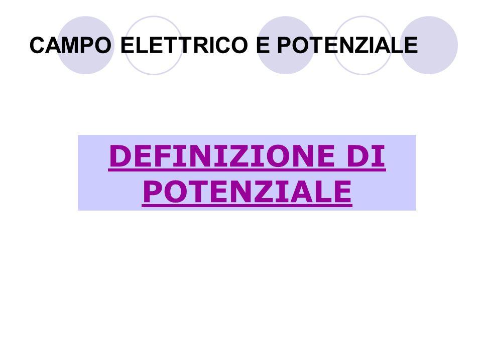 CAMPO ELETTRICO E POTENZIALE DEFINIZIONE DI POTENZIALE