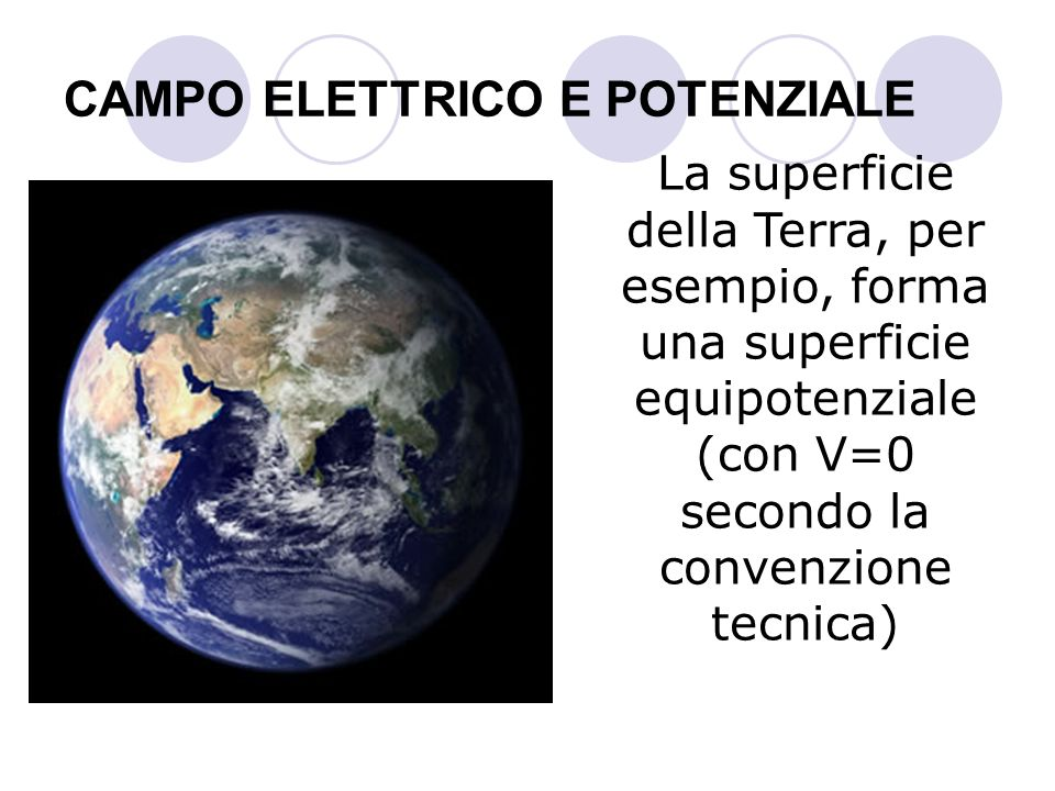 CAMPO ELETTRICO E POTENZIALE La superficie della Terra, per esempio, forma una superficie equipotenziale (con V=0 secondo la convenzione tecnica)
