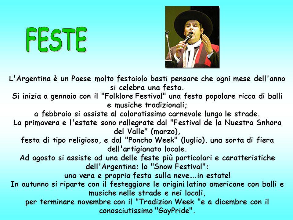 L Argentina è un Paese molto festaiolo basti pensare che ogni mese dell anno si celebra una festa.