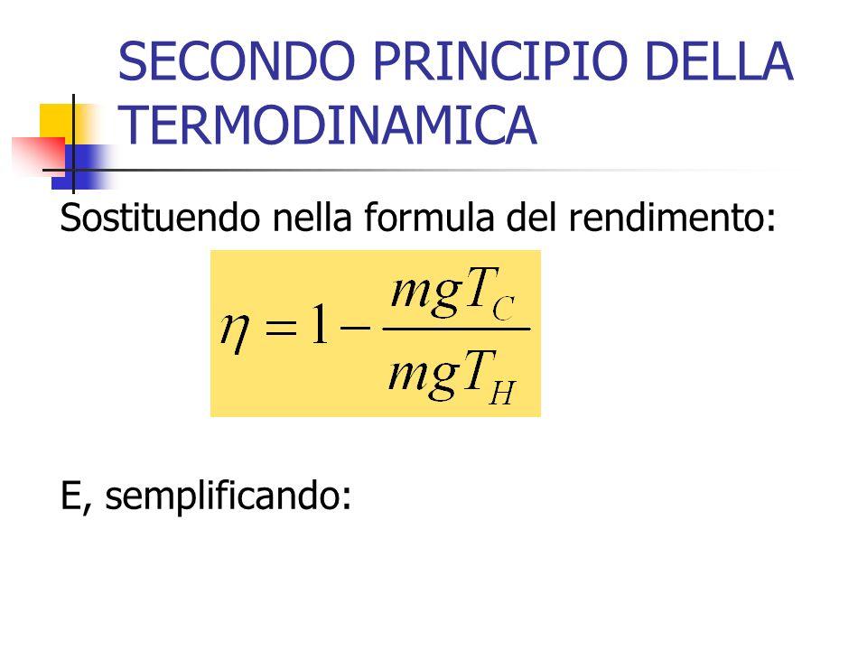 SECONDO PRINCIPIO DELLA TERMODINAMICA Sostituendo nella formula del rendimento: E, semplificando: