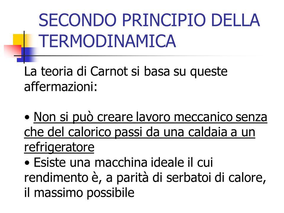 SECONDO PRINCIPIO DELLA TERMODINAMICA La teoria di Carnot si basa su queste affermazioni: Non si può creare lavoro meccanico senza che del calorico pa