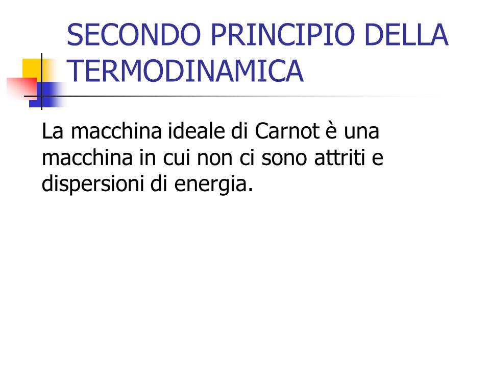 SECONDO PRINCIPIO DELLA TERMODINAMICA La macchina ideale di Carnot è una macchina in cui non ci sono attriti e dispersioni di energia.
