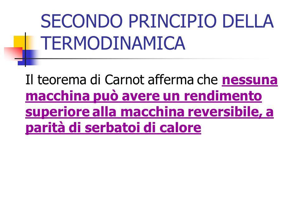 SECONDO PRINCIPIO DELLA TERMODINAMICA Il teorema di Carnot afferma che nessuna macchina può avere un rendimento superiore alla macchina reversibile, a