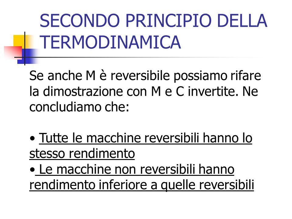 SECONDO PRINCIPIO DELLA TERMODINAMICA Se anche M è reversibile possiamo rifare la dimostrazione con M e C invertite. Ne concludiamo che: Tutte le macc
