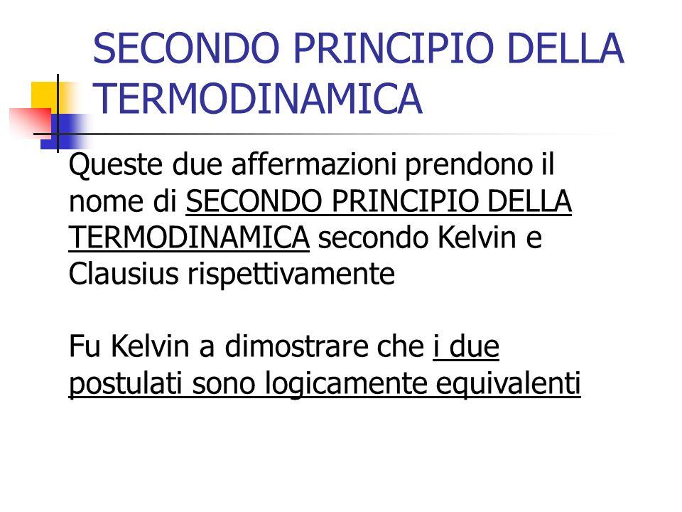 SECONDO PRINCIPIO DELLA TERMODINAMICA Queste due affermazioni prendono il nome di SECONDO PRINCIPIO DELLA TERMODINAMICA secondo Kelvin e Clausius risp