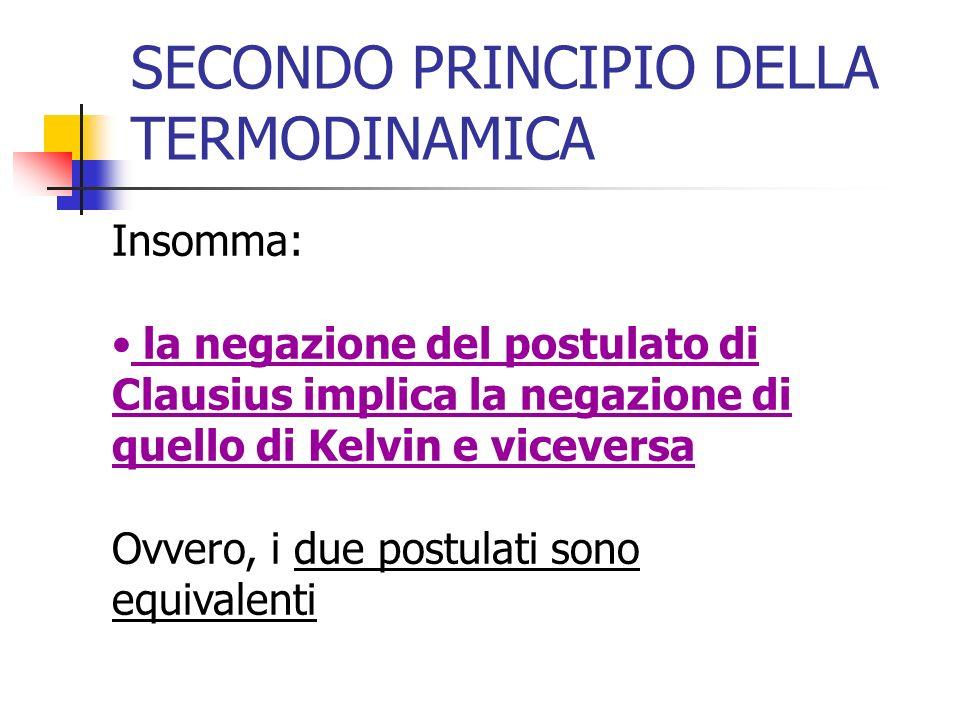 SECONDO PRINCIPIO DELLA TERMODINAMICA Insomma: la negazione del postulato di Clausius implica la negazione di quello di Kelvin e viceversa Ovvero, i d