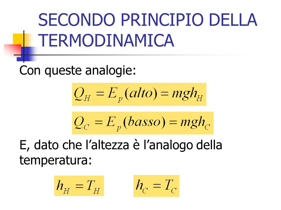 SECONDO PRINCIPIO DELLA TERMODINAMICA Con queste analogie: E, dato che laltezza è lanalogo della temperatura: