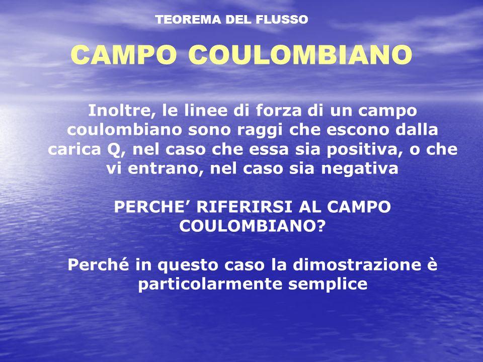 TEOREMA DEL FLUSSO CAMPO COULOMBIANO Inoltre, le linee di forza di un campo coulombiano sono raggi che escono dalla carica Q, nel caso che essa sia positiva, o che vi entrano, nel caso sia negativa PERCHE RIFERIRSI AL CAMPO COULOMBIANO.