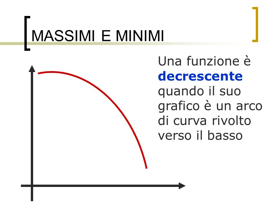 MASSIMI E MINIMI Sia f derivabile in un dato intervallo I, allora: se la funzione è crescente in I allora la derivata è maggiore o uguale a zero in tale intervallo se la funzione è decrescente in I allora la derivata è minore o uguale a zero in tale intervallo