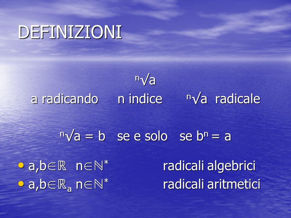 DEFINIZIONI n a a radicando n indice n a radicale n a = b se e solo se b n = a a,b n * radicali algebrici a,b n * radicali algebrici a,b a n * radicali aritmetici a,b a n * radicali aritmetici