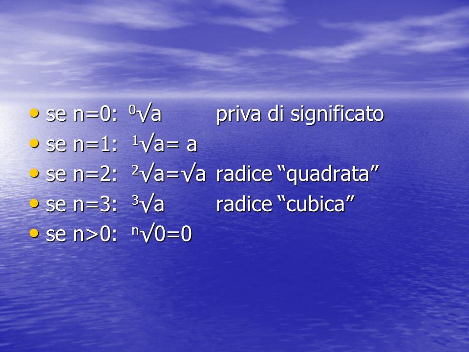 se n=0: 0 apriva di significato se n=0: 0 apriva di significato se n=1: 1 a= a se n=1: 1 a= a se n=2: 2 a=a radice quadrata se n=2: 2 a=a radice quadrata se n=3: 3 aradice cubica se n=3: 3 aradice cubica se n>0: n 0=0 se n>0: n 0=0