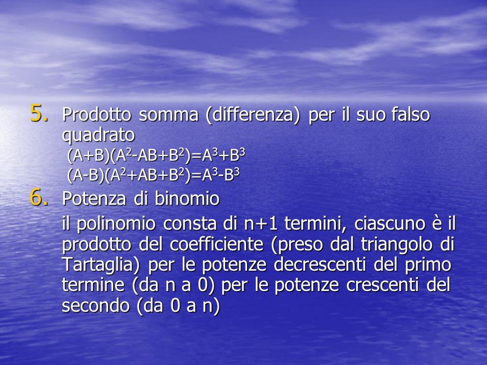 5. Prodotto somma (differenza) per il suo falso quadrato (A+B)(A 2 -AB+B 2 )=A 3 +B 3 (A+B)(A 2 -AB+B 2 )=A 3 +B 3 (A-B)(A 2 +AB+B 2 )=A 3 -B 3 (A-B)(